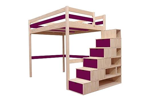 Hochbett Holz 90x200 : Abc meubles hochbett sylvia mit treppenregal holz cube