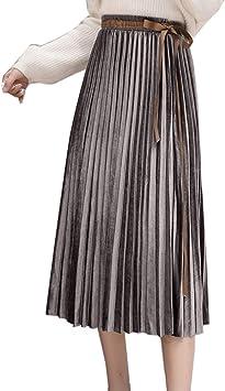 LaoZanA Mujer Falda Plisada Terciopelo Cintura Alta Elastico A ...