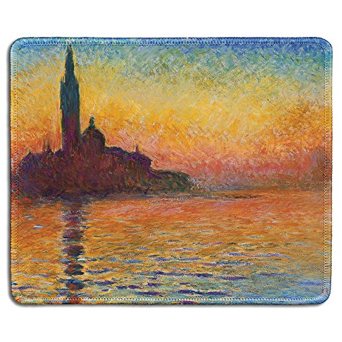 (dealzEpic - Art Mousepad - Natural Rubber Mouse Pad with Famous Fine Art Painting of San Giorgio Maggiore at Dusk by Claude Monet - Stitched Edges - 9.5x7.9 inches )