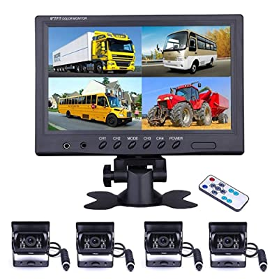 Vehicle Backup Camera - Camecho 9 Inch 4 Split Monitor Front View Rear View Camera 18 IR Night Vision Waterproof Auto Camera with 2x33 ft and 2x65ft Cables for RV, Trailer, Bus,Trucks: Car Electronics