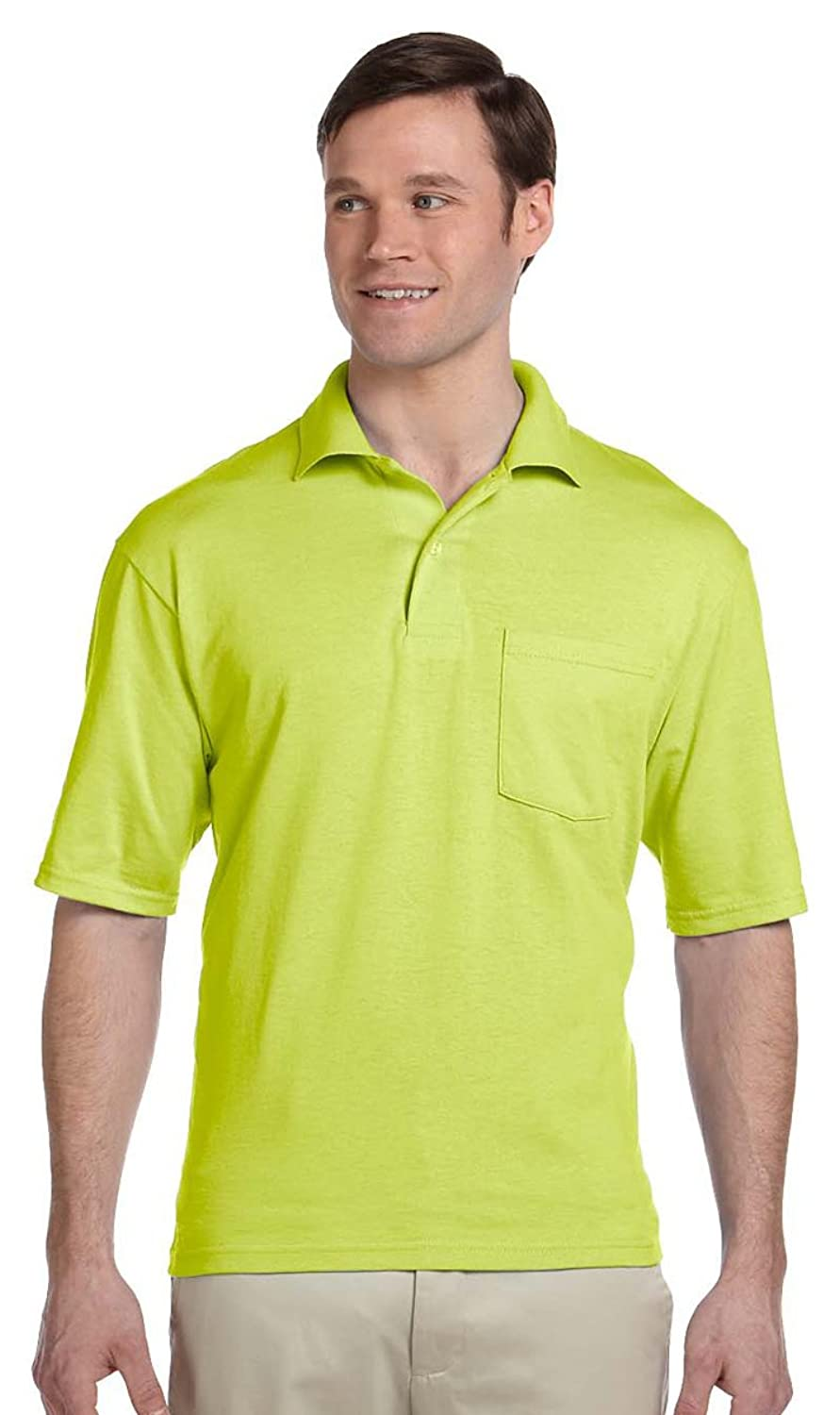 Jerzees 56 oz, 50/50 Jersey Pocket Polo with SpotShield -436P- SAFETY GREEN,M