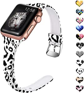 Henva Band Compatible with Apple Watch SE Band 40mm 38mm for Women, Soft Silicone Thin Wristband with Print Pattern for iWatch Series 6/5, Series 4, Series 3, Series 2, Series 1, Black Leopard Pattern, S/M