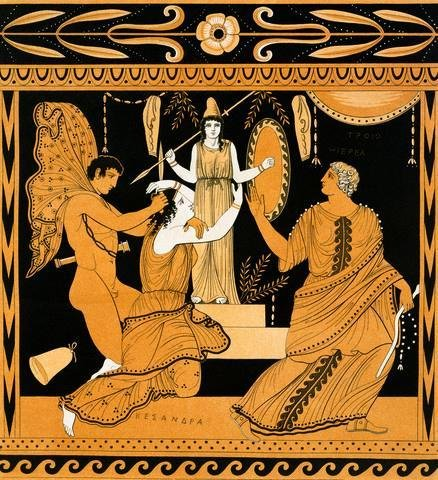 (Wallmonkeys 19th Century Greek Vase Illustration of Cassandra with Apollo and Minerva Wall Decal Peel and Stick Graphic WM211957 (30 in H x 27 in W))
