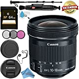 Canon EF-S 10-18mm f/4.5-5.6 IS STM Lens 9519B002 + 67mm 3 Piece Filter Kit + 64GB SDXC Card + Lens Pen Cleaner + Fibercloth + Lens Capkeeper + Deluxe 70 Monopod + Deluxe Cleaning Kit Bundle