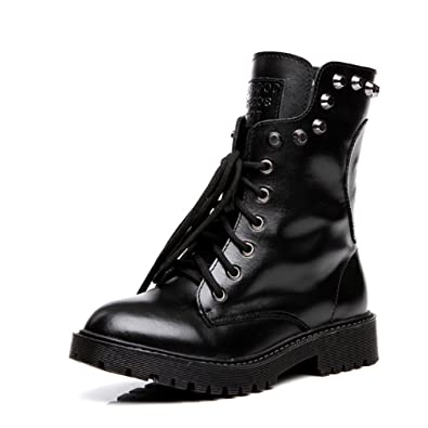 Cow Leather Lace Up Martin BootsCombat Boot
