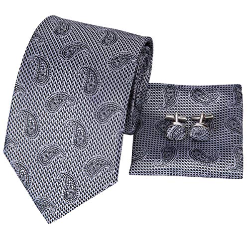 Hi-Tie Men Grey Silver Paisley Pattern Tie Necktie with Cufflinks and Pocket Square Tie Set ()