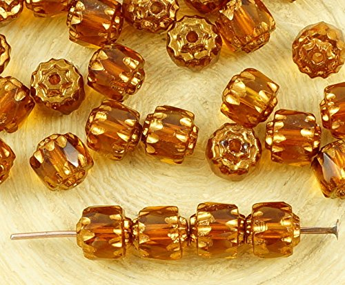 20pcs Crystal Yellow Topaz Metallic Bronze Gold Czech Glass Cathedral Faceted Fire Polished Beads Christmas 6mm