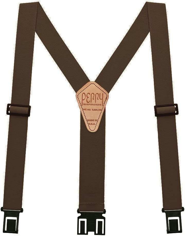Perry Suspenders SN200-L-BRN Tall, Brown Perry Products SN200 Mens Clip-On 2-in Suspenders