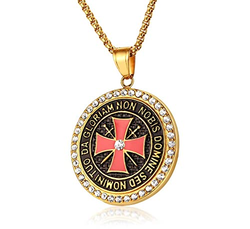 Vnox gold plated stainless steel shiny crystal the knights templar vnox gold plated stainless steel shiny crystal the knights templar cross pendant necklace for men women aloadofball Images