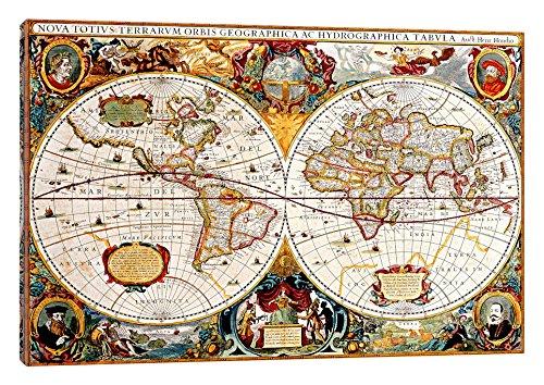 (iCanvasART Antique Double Hemisphere Map of the World (Hondius, Henricus c 1630) Print, 60