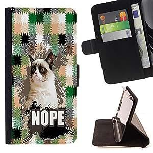 Pattern Queen - Chevron Grumpy Cat - FOR Samsung Galaxy Note 4 IV - Funda de cuero ranuras para tarjetas de credito de la cubierta Flio tarjeta de la carpeta del tiron