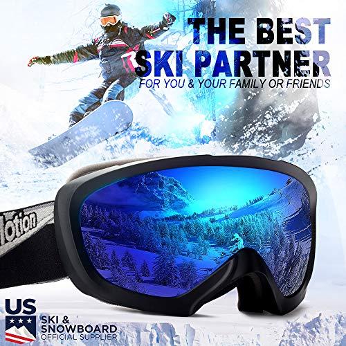 a5ae71c054 JK MOTION Chrome Ski Goggles-Anti Fog Snow Goggles-100% UV Protection