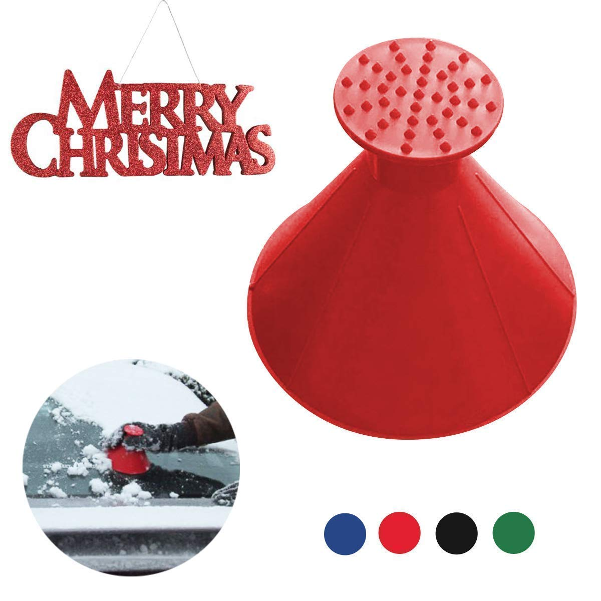 Magic Scrape A Round Ice Scraper Car Windshield Snow Scraper Cone Shaped Windshield Snow Funnel Shovel Tool Will Scrape Pesky Frost and Ice from Windscreens and Side Windows with Ease (Red) Great Home