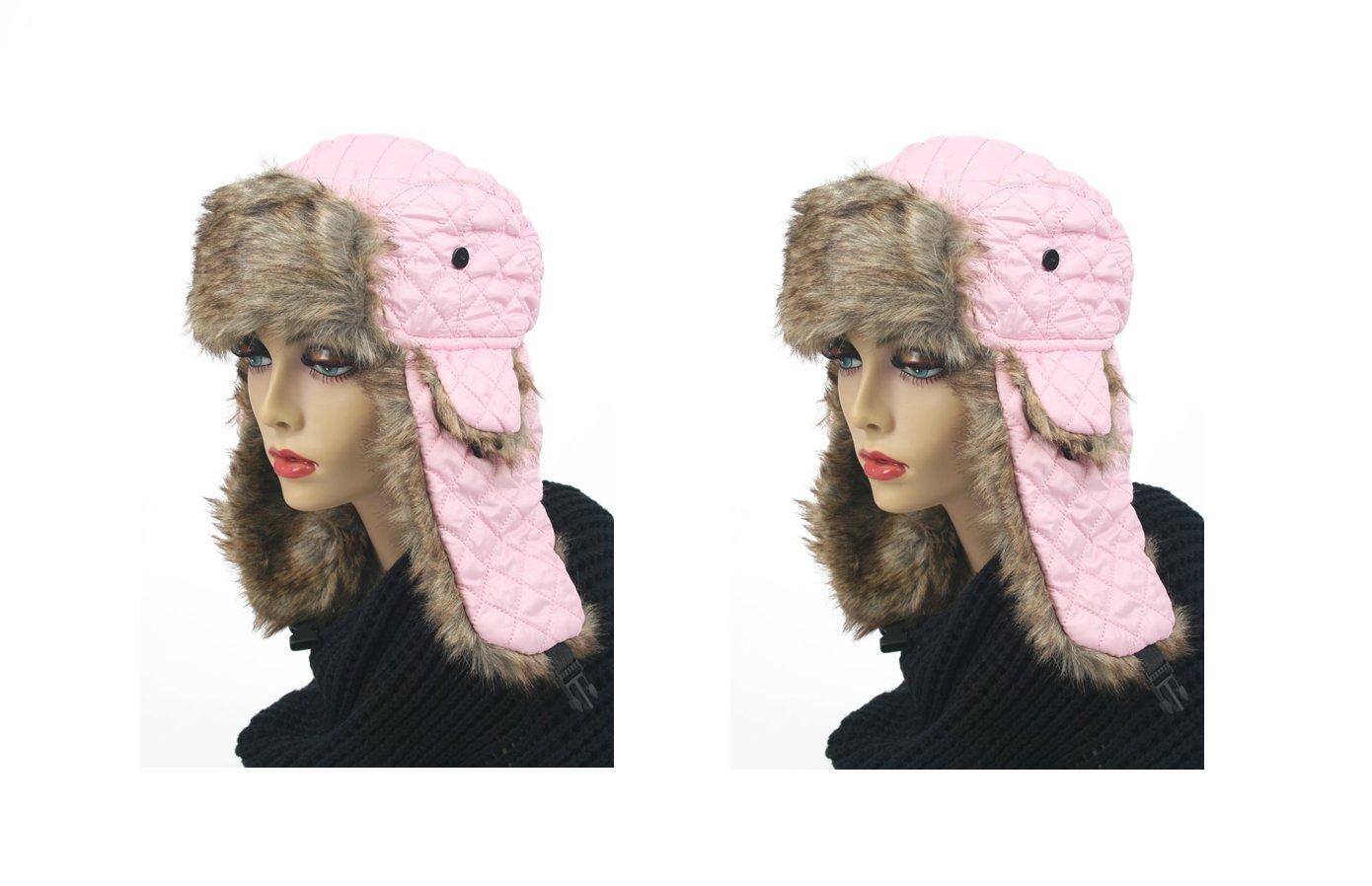 Pop Fashionwear Women's Trapper Quilted Winter Ear Flap Hat 901HT (2 pcs Pink & Pink)