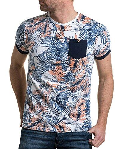 Avec Orange Bleu American Frais Fleuri Été T shirt People Et Poche TPTUxR
