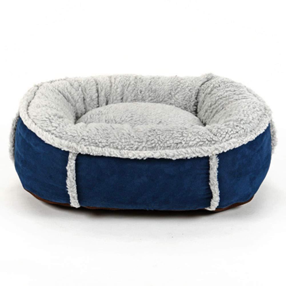 Diametro 90cm LXLA Round caldo Dog Bed con fleece Lined and Suede Sides, Rimedibile Wasable *non slip (Blue) (Dimensione:Diameter 90cm)