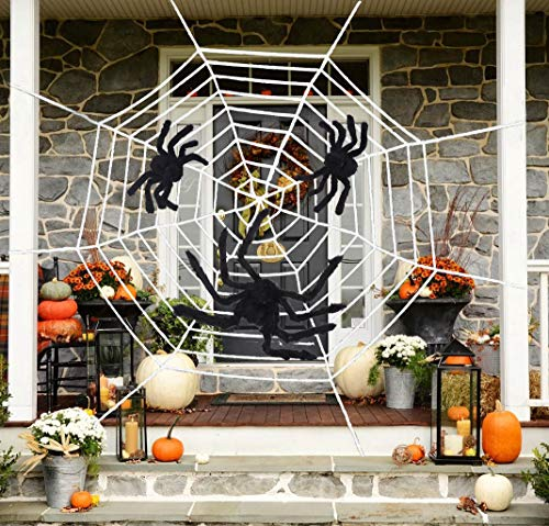 Qibote Mega Fake Spider Web White Halloween Halloween Outdoor Cobwebs Decorations,with 3 Big Spiders- Outdoor Yard Haunted House Party Decor -