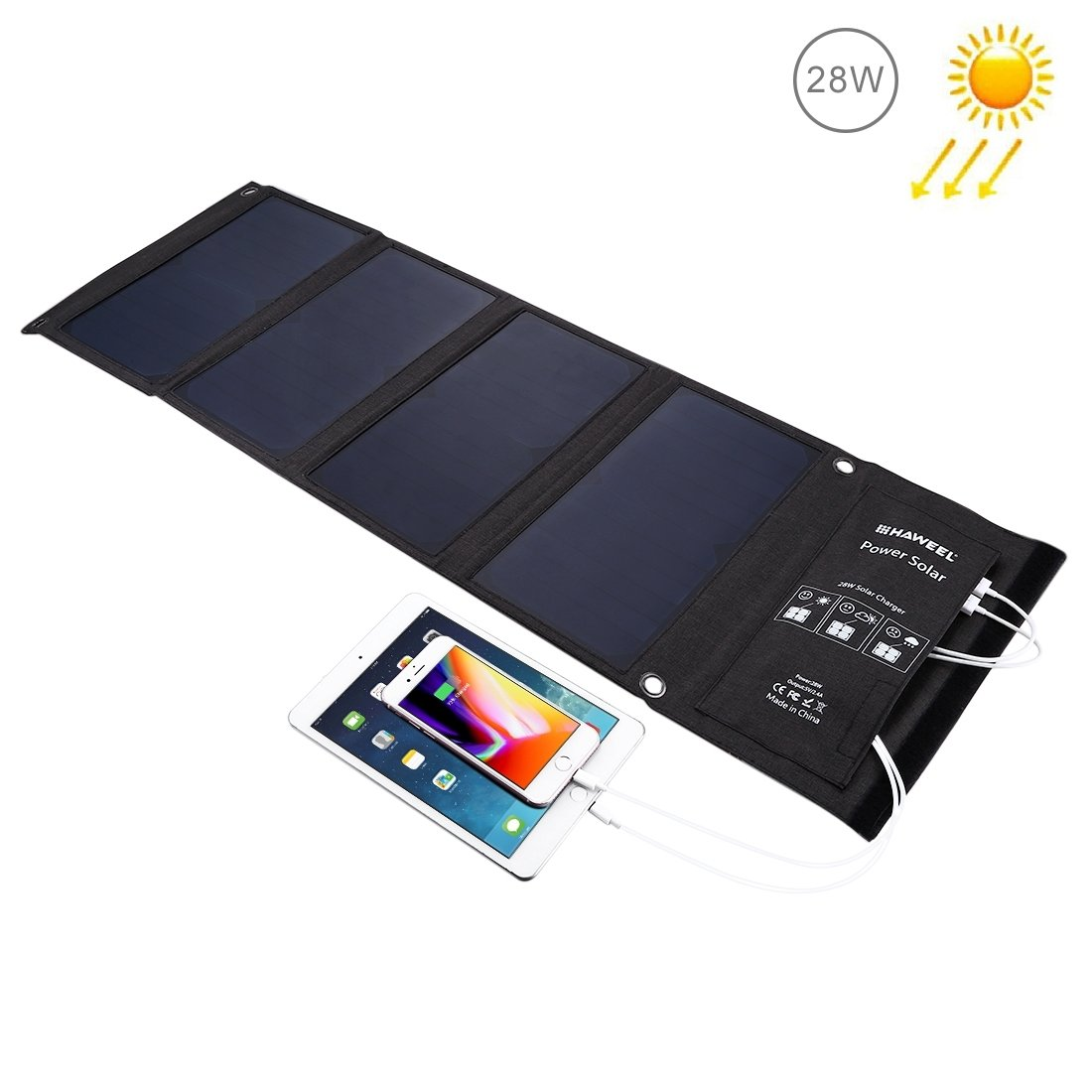 HAWEEL Solar Charger 28W Dual Solar Panel with USB Port Waterproof Foldable for iPhone X, 8 & 8 Plus, iPad Pro Air 2 mini, Galaxy S8 S7 S6 Edge Plus, Note 5 4, LG, Nexus and More