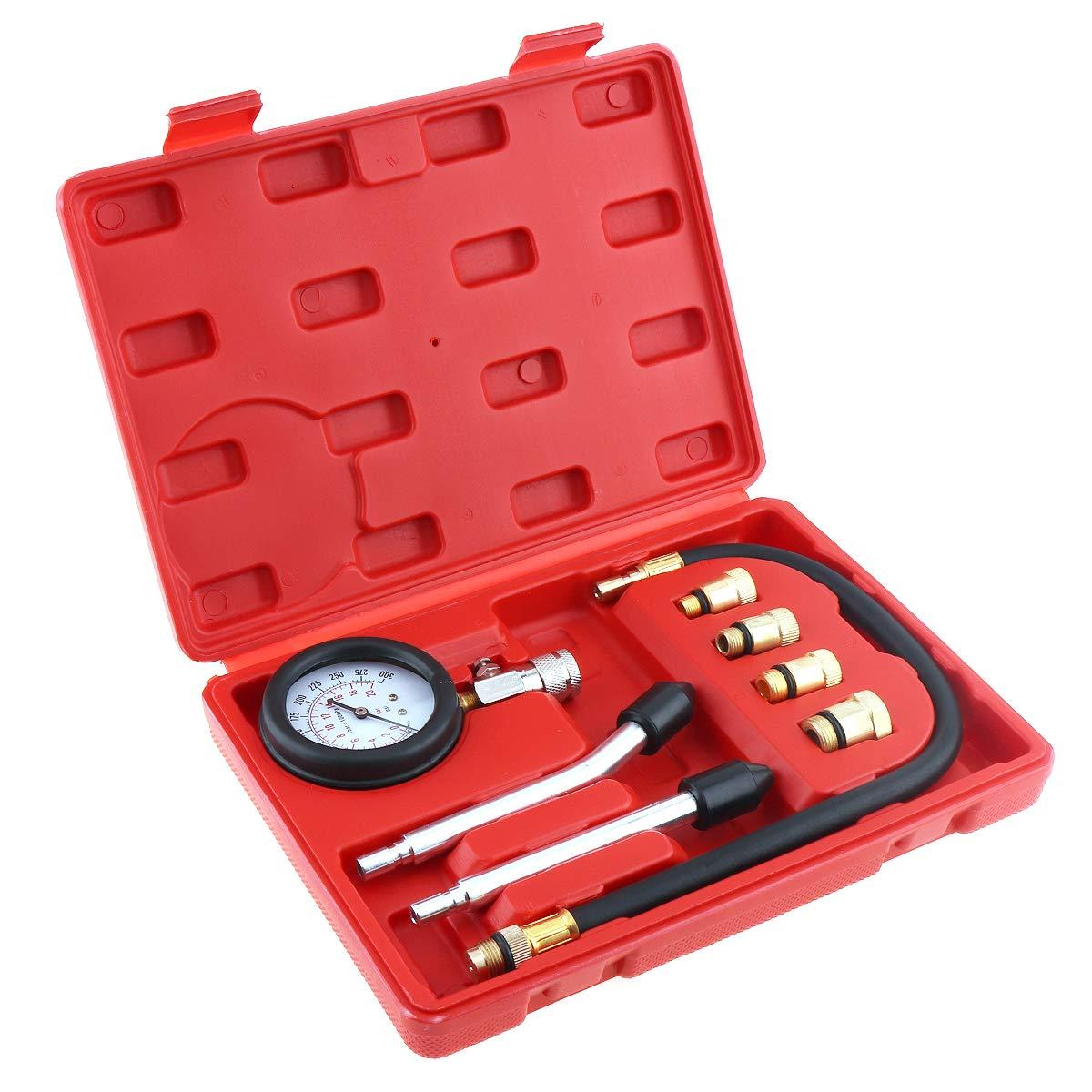 ePathChina/® Portatile Universale Motore Cilindro Compressione Pressione Tester Test Kit Gauge Lettura diagnostica Strumenti per Auto e Moto