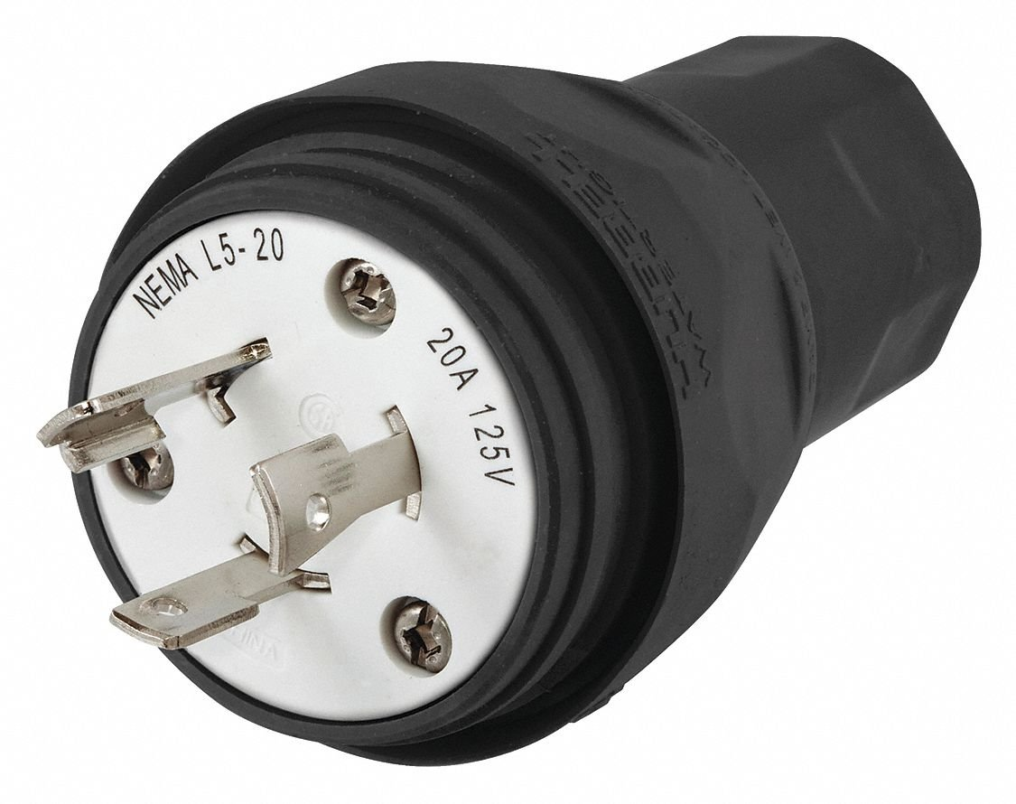 20A Watertight Locking Plug 2P 3W 125VAC L5-20R BK