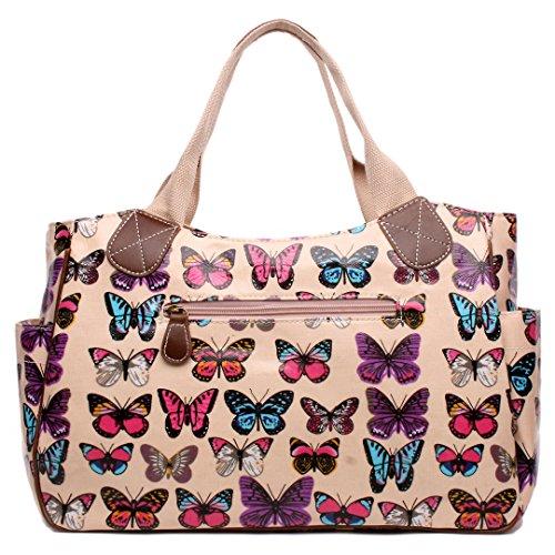 Bag Women Lulu Butterfly Pink Owl Dots Hand Tote Shopper Day Patterns Flower Handbag Oilcloth Travel Butterfly Polka Miss zwBpqq