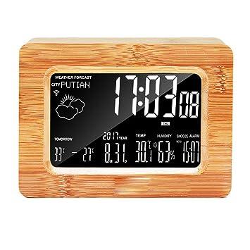 HYYQG Reloj Despertador Madera, EstacióN MeteorolóGica ...