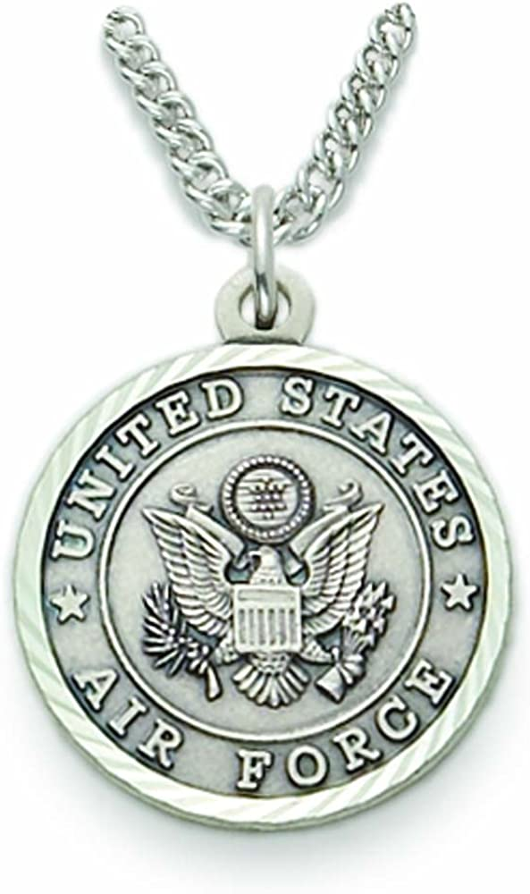 3//4 Inch TrueFaithJewelry Sterling Silver United States Air Force Medal with Saint Michael Back