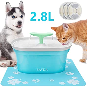 Amazon.com: BAYKA Fuente de agua para gatos, 2,8 l ...