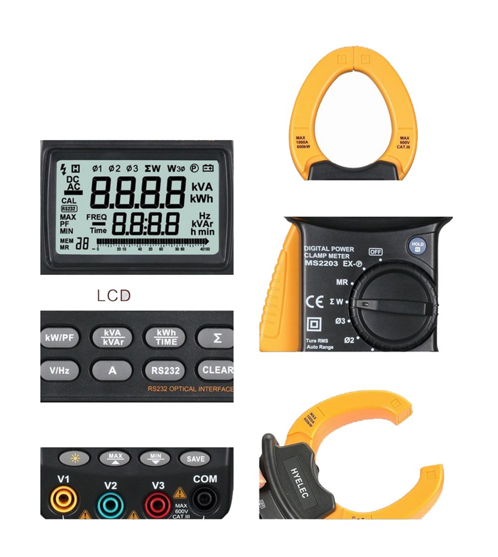 Wonderful MS2203 3-Phase LCD Professional High Sensitivity Clamp Power Meter 9999 Counts Power Factor Correction USB True-RMS 4 Wire Testing MS2203