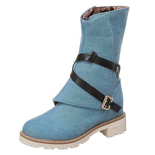 ALIKEEY Mujeres Cuñas Botines Medio Tubo Lienzo Botas Zapatos Hebilla Correa Arranque Doradas con Alto Playa TacóN Tobillera Ecco: Amazon.es: Zapatos y ...