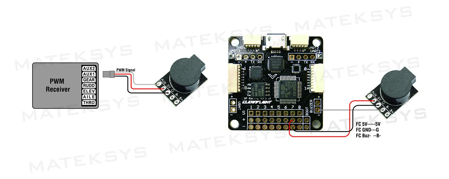 Amazon.com: Matek Systems 90dB 5V Loud Buzzer Lost Model Beeper Built-in  MCU for CC3D Naze32 F3 F4 Flight Controller and PPM Receiver: Toys & Games