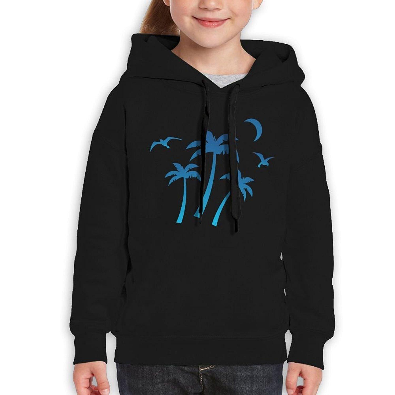 Starcleveland Teenager Pullover Hoodie Sweatshirt Blue Coconut Tree Teens Hooded Boys Girls