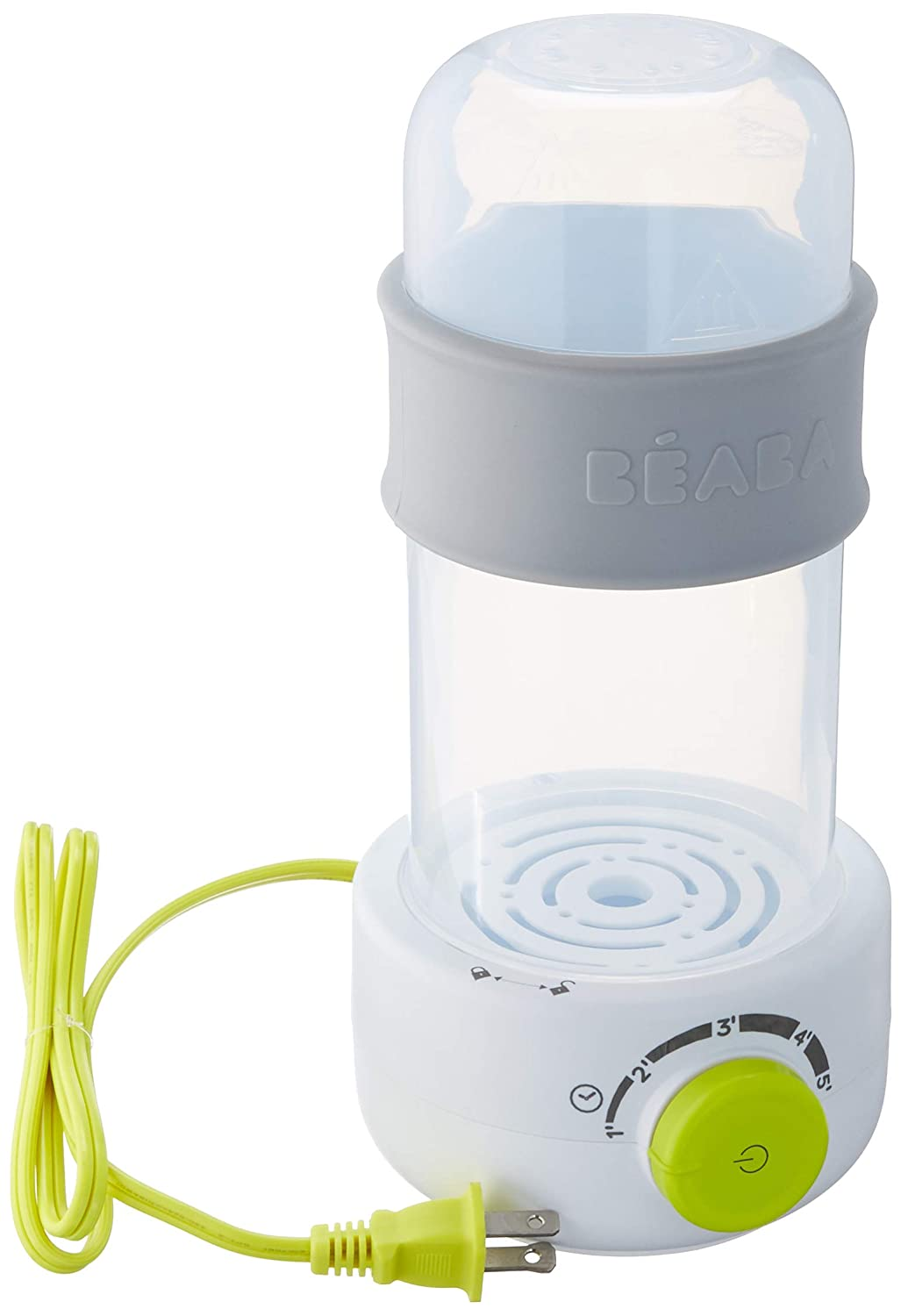 BEABA Quick Baby Bottle Warmer, Steam Sterilizer, Baby Food Heater (3-in-1) Warm Milk in Just Two Minutes, BPA and Lead Free, Simple Temperature Control, Fits All Bottle Sizes - Even Wide Neck, Neon 911641