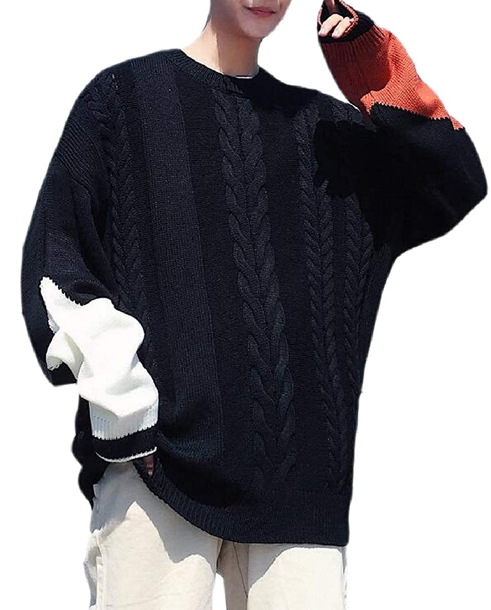 ZXFHZS Mens Knitted Contrast Colors Pullover Cable Scoop Neck Sweater