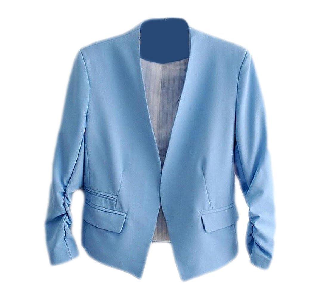 YUNY Womens Solid Bishop Sleeve Casual Coat Fashion Cardigan Small Blazer Blue XS