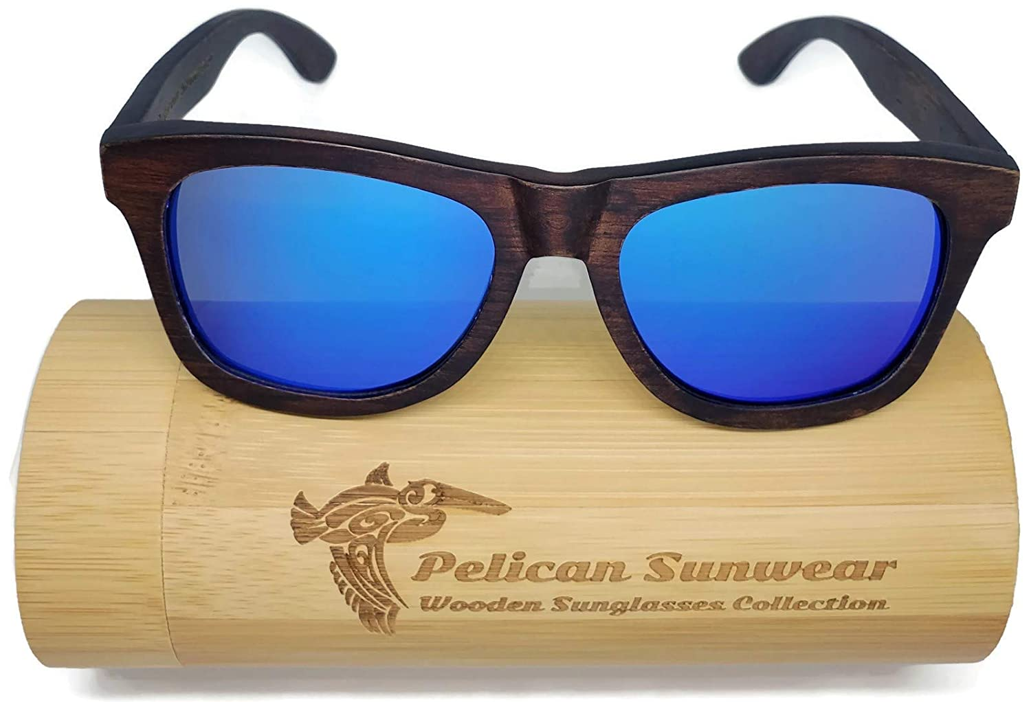 1ab5c97a177c Amazon.com  Wooden Polarized Sunglasses - Handmade Solid Real Dumu Wood  Vintage Style w Bamboo Case - 100% UV Protection - for Men and Women by  Pelican ...