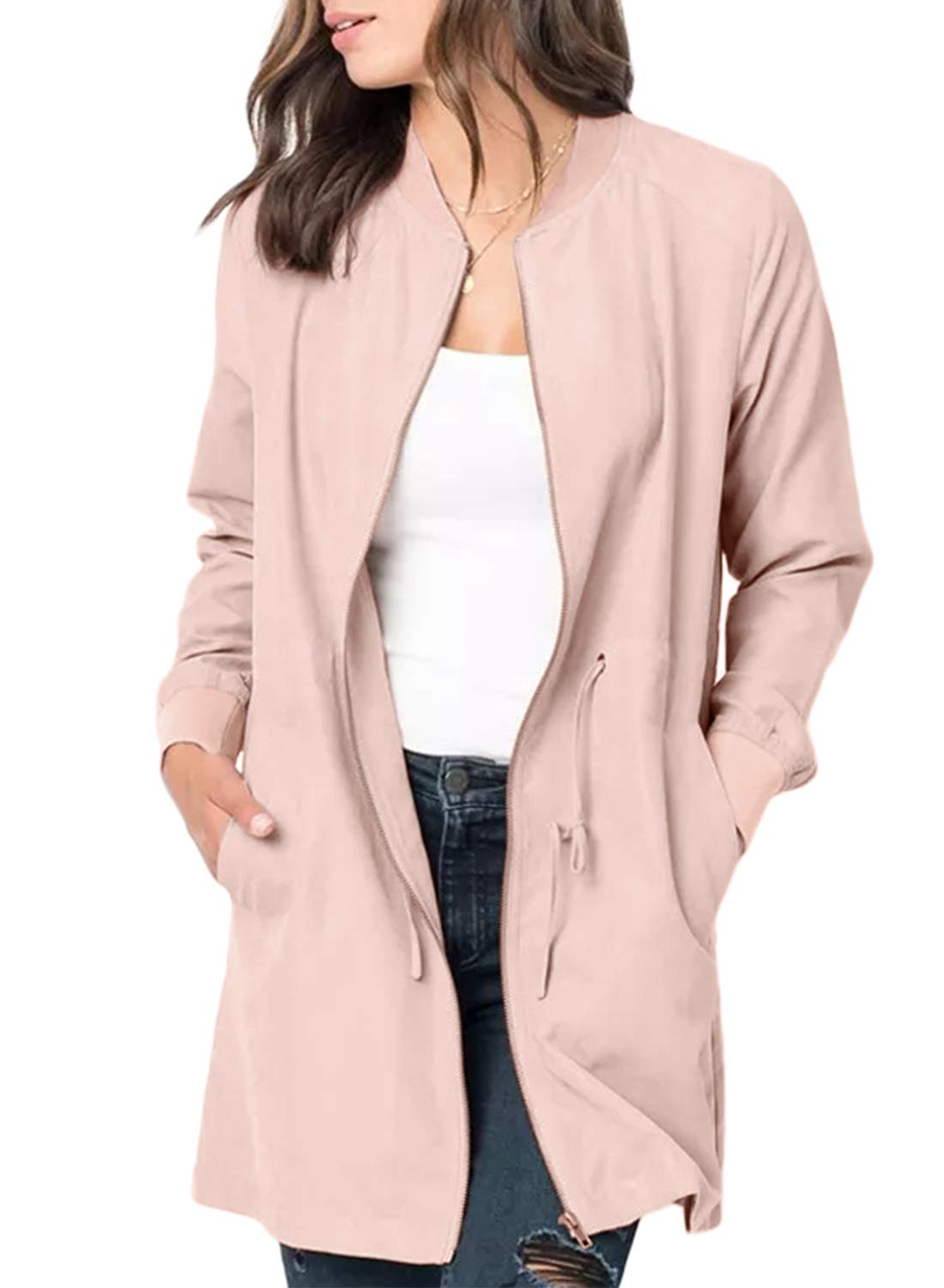 BLENCOT Womens Ladies Cute Autumn Thin Pink Coat Front Zipper Open Front Suede Jacket Comfy Basic Outerwear Windbreaker Large by BLENCOT