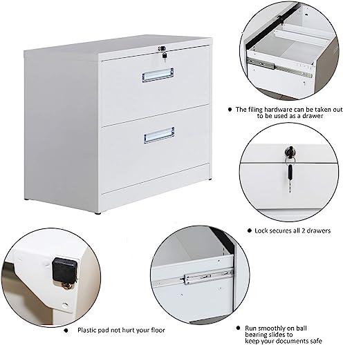 Locking File Cabinet 2 Drawer Lateral Filing Cabinet Metal Key Lock 3 Drawer Office Horizontal Steel Organizer