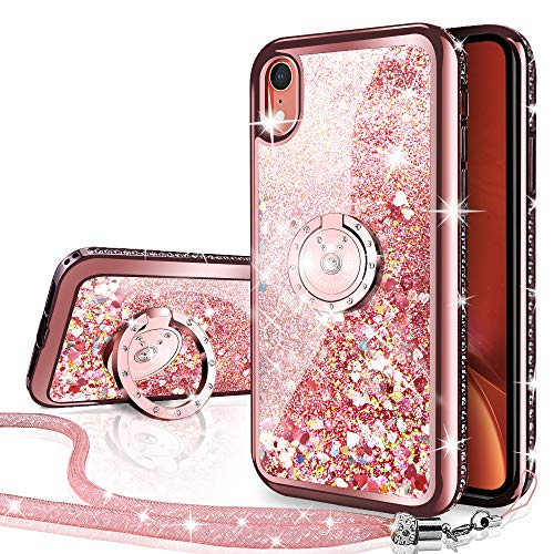 (iPhone XR Case, Silverback Moving Liquid Holographic Sparkle Glitter Case with Kickstand, Bling Diamond Rhinestone Bumper W/Ring Stand Slim Protective Apple iPhone XR Case for Girls Women -Rose Gold)