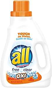 all Liquid Laundry Detergent with OXI Stain Removers and Whiteners, Free Clear, 46.5 Fluid Ounces, 26 Loads