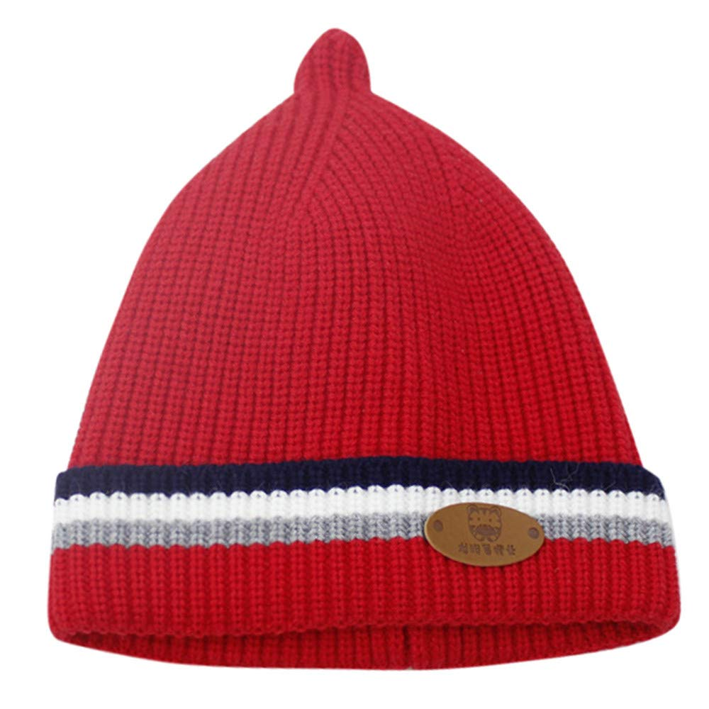 Sikye Winter Baby's Cap Newborn Infant Striped Crocheted Solid Hat Casual Daily Cozy Headwear (Red)