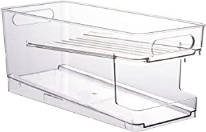 Double layer Refrigerator Organizer Bins Pop Soda Can Dispenser Beverage Holder for Fridge, Freezer, Kitchen, Countertops, Cabinets - Clear Plastic Canned Food Pantry Storage Rack
