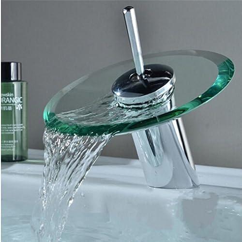 Inchant Contemporary Single Handle Round Glass Spout Bathroom Waterfall Faucet Chrome Bath tub Basin Mixer Tap Lavatory Vanity Faucets,Deck Mount Short Body