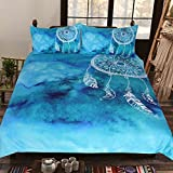Sleepwish Boho Dreamcatcher Feather Bedding Set Watercolor Indigo Blue Turquoise Duvet Cover Art Bed Comforter Cover (Queen)