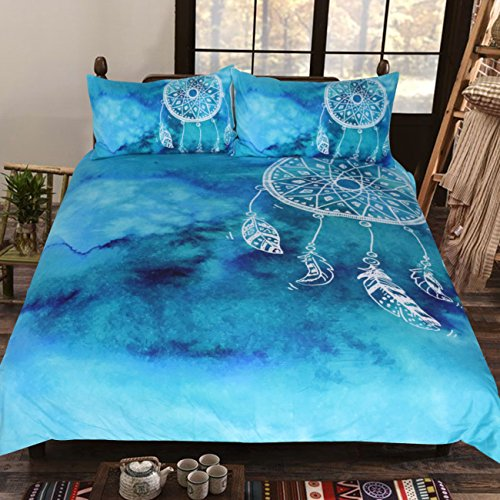 Sleepwish Teal Blue Watercolor Dreamcatcher Bedding Boho Bed Clothes 3 Piece Ethnic Duvet Cover Bohemian Hippie Bed Comforter Cover Set (Twin) by Sleepwish