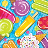 "2 Set of 16 Unique 6.5"" x 6.5"" Summer Popsicle & Ice Cream Party Napkins bundled by Maven Gifts"