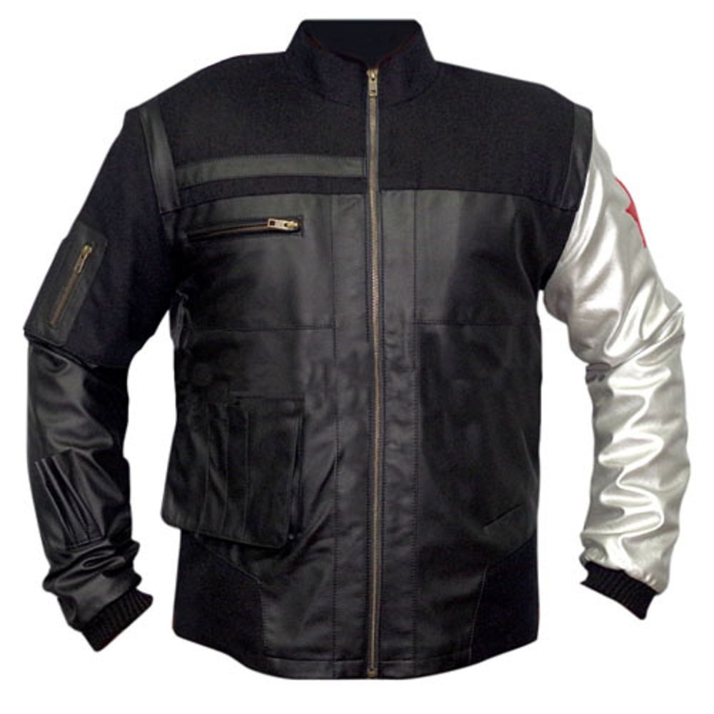 Bucky Barnes Captain America Winter Soldier Inspired Cosplay Leather Jacket