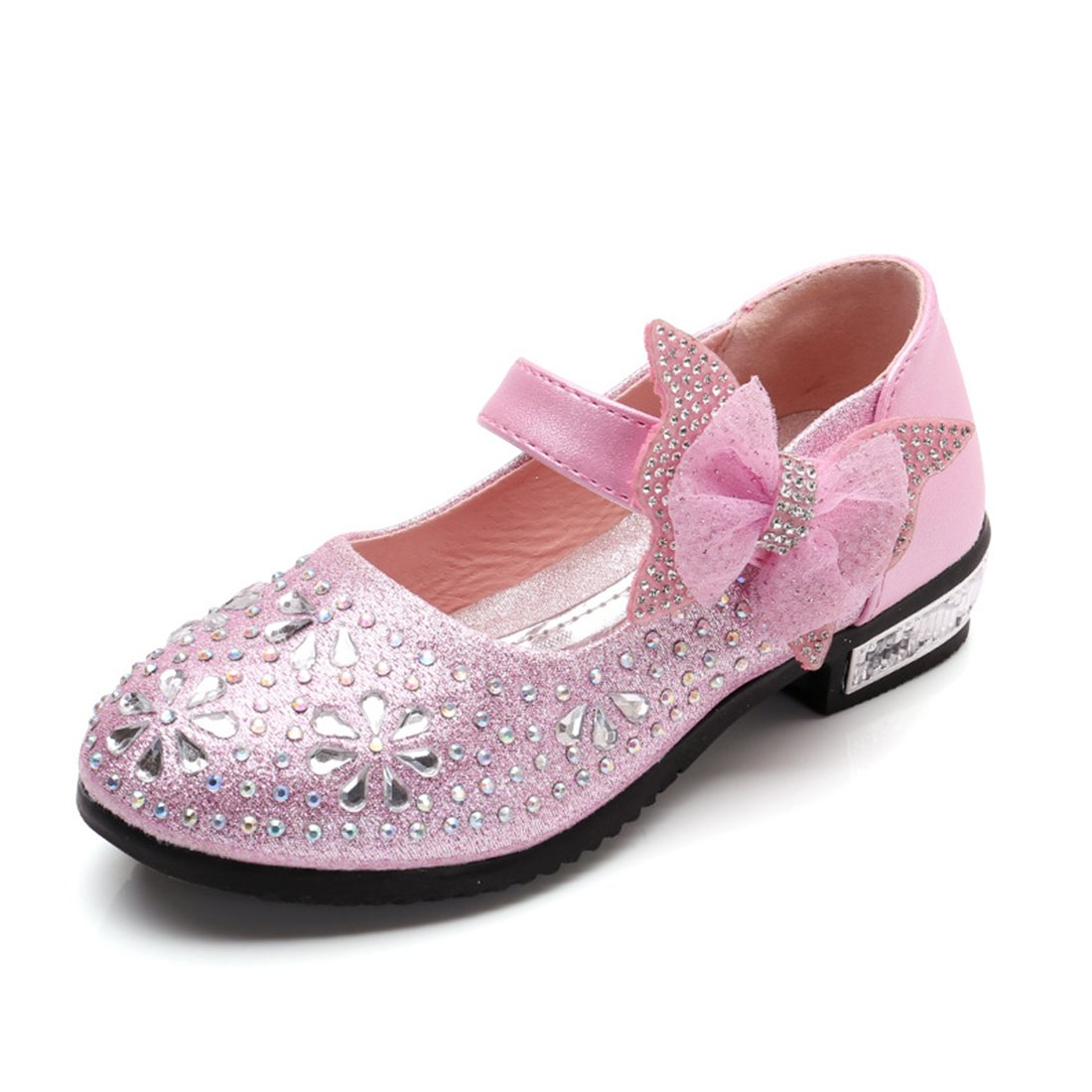 Little Girl's Princess Shoes Mary Jane Wedding Glitter Dance Party Shoes Low Heels Pink US 10 M