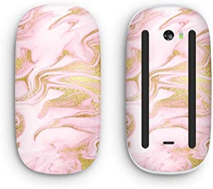 Design Skinz Rose Pink Marble & Digital Gold Frosted Foil V11 Vinyl Decal Compatible with The Apple Magic Mouse 2 (Wireless, Rechargable) with Multi-Touch Surface