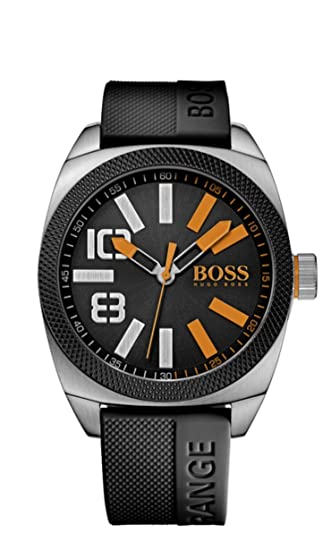 BOSS Orange London XXL - Reloj de cuarzo para hombre, correa de silicona color negro: Amazon.es: Relojes
